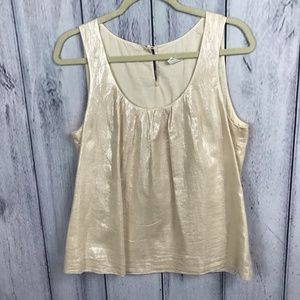 J. Crew 6 Top Blouse Sleeveless Shiny Beige Lined